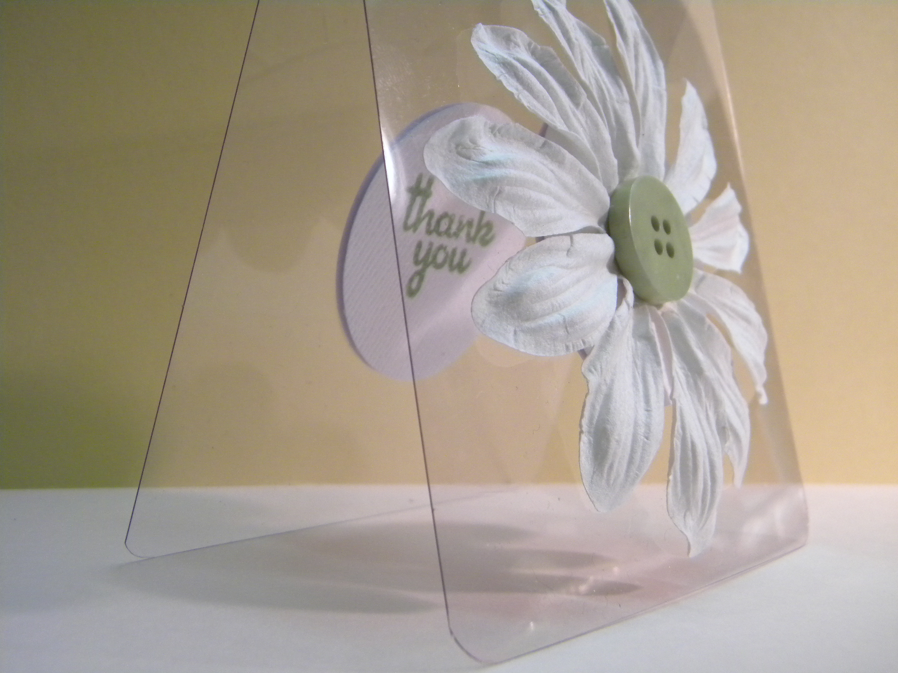 acetate button handmade paper daisy leave a  ment