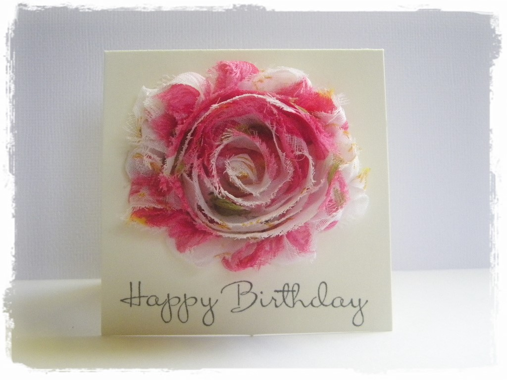 Fabric Flower Birthday Cards The Handmade Card Blog